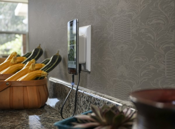 SCOSCHE's New MagicMount Wall Charger secures your phone off the tables with it's High-Powered Neodymium Magnet System.