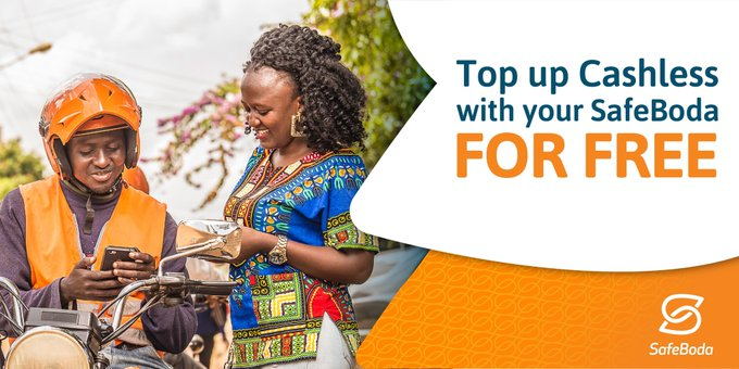 Recharge your safe boda cashless account with a safe boda 'rider' for free.